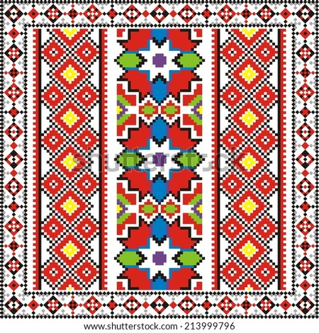 vector ethnic cultural ornaments to cross stitch on motives of Russian and Ukrainian historical elements