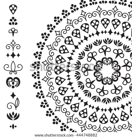 Vector ethnic design elements and rounded pattern from these elements, you can combine them to create your own brushes or patterns, black and white version