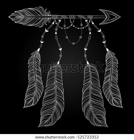 Vector Ethnic White Arrow With Bird Feathers Boho Style Concept American Zentangle Illustration For