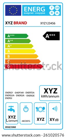 Vector EU energy rating label - Dishwasher.