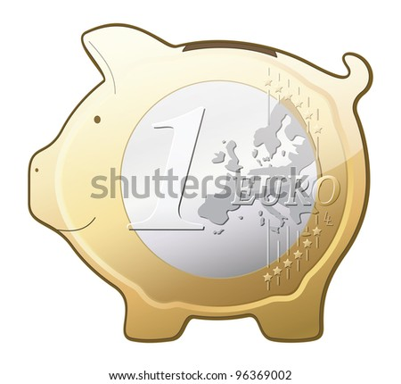 Vector euro coin piggy bank icon isolated on white background - stock vector