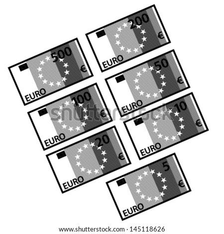 vector euro paper bill banknotes black white - stock vector