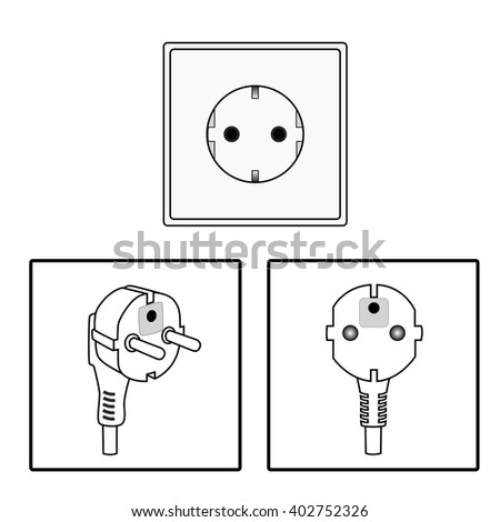 Vector. Euro socket and plug. Icon. Two pin socket isolated illustration. - stock vector