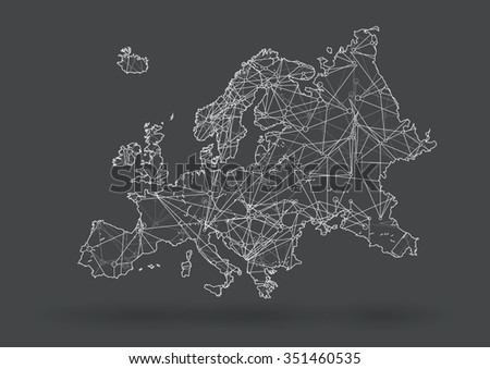 Drawing With Lines And Dots : Vector europe map nodes linked by stock 2018 351460535