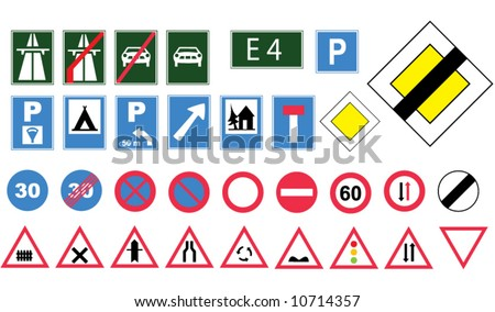 Vector europe road signs - stock vector