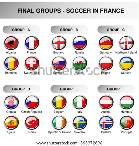 Vector European final groups, set flags of participants in year 2016. Soccer cup. Championship - football in France - group A, B, C, D, E, F, original design of glossy buttons - stock vector
