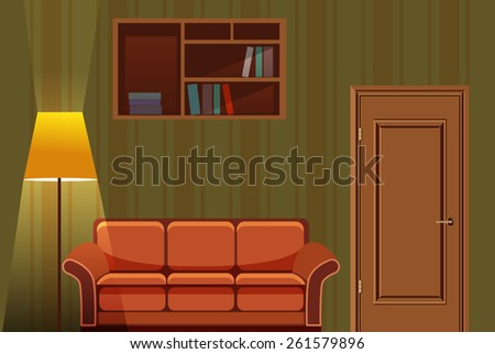 vector evening interior with sofa and lamp - stock vector
