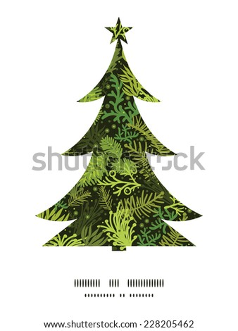 Vector evergreen christmas tree Christmas tree silhouette pattern frame card template - stock vector