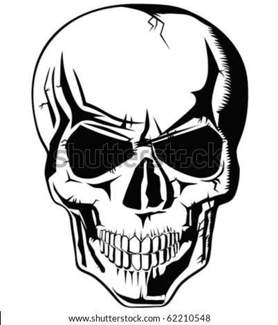 vector evil human skull for halloween - stock vector