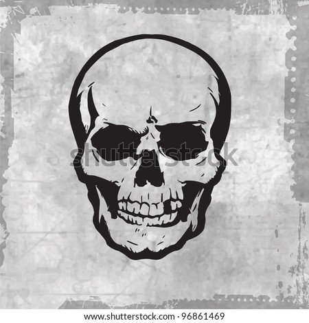 vector evil human skull for halloween