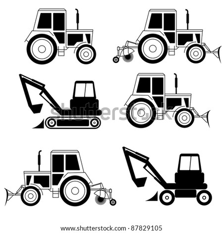 vector excavator end bulldozer isolated on white - stock vector