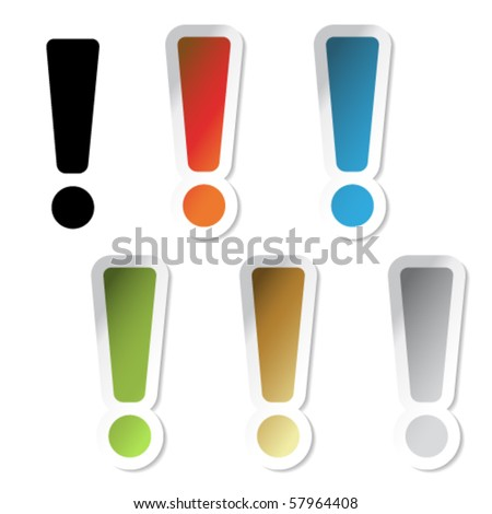 Vector exclamation mark stickers - stock vector