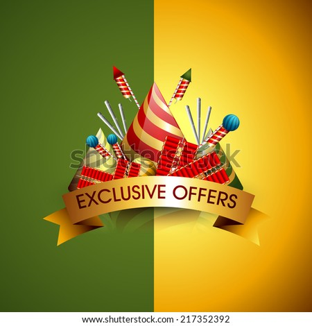 Vector Exclusive offer background, flyer,brochure, magazine cover for Diwali festival with crackers can be used for print and publishing. - stock vector