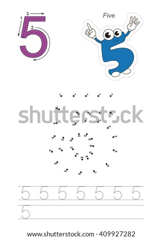 Vector exercise illustrated alphabet. Learn handwriting. Connect dots by numbers. Tracing worksheet for figure Five - stock vector