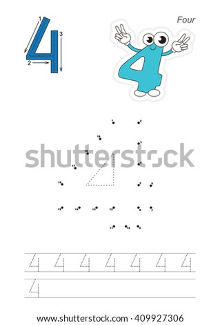 Vector exercise illustrated alphabet. Learn handwriting. Connect dots by numbers. Tracing worksheet for figure Four. The colorful version. - stock vector