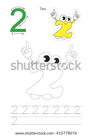 Vector exercise illustrated alphabet. Learn handwriting. Page to be traced. Complete english alphabet. Tracing worksheet for figure Two - stock vector