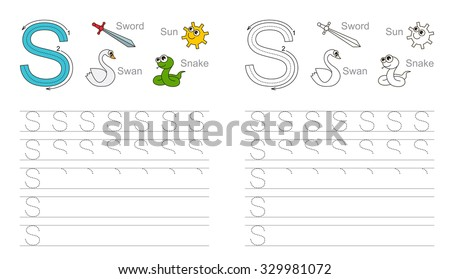 Vector exercise illustrated alphabet. Learn handwriting. Tracing worksheet for letter S. Page to be colored. - stock vector