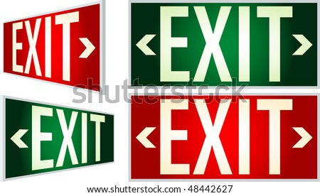 vector exit signs with light - stock vector