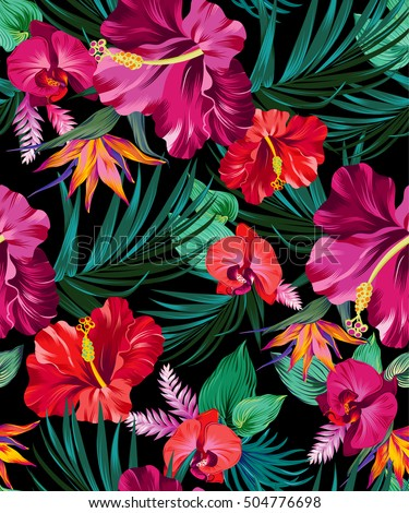 vector exotic floral pattern on black �� ��� 504776698