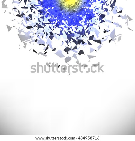 Vector Explosion Cloud of Grey Pieces on White Background. Sharp Particles Randomly Fly in the Air.