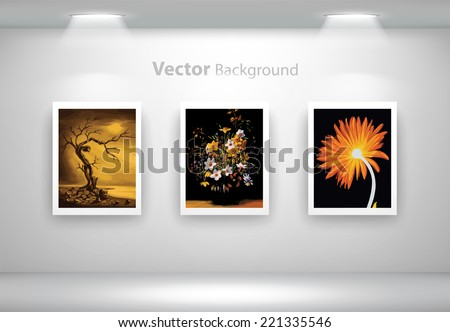 Vector exposition of colorful paintings of plants. Fully editable eps10