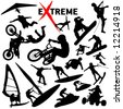Vector eXtreme sport silhouettes. (High Detail) Easy change colors. - stock photo