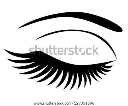 vector eye closed long eye lashes stock vector 129351596