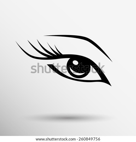 vector eye with long lashes  woman makeup beauty symbol. - stock vector