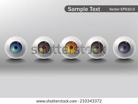 Vector eyeball, format for eps10.0 fully editable. - stock vector