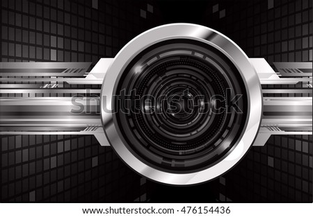 vector eyeball future technology, black silver cyber security concept background