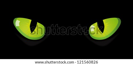Vector eyes of cat on black background - stock vector