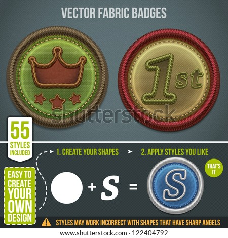 Vector fabric badges. 55 styles included for your design - stock vector