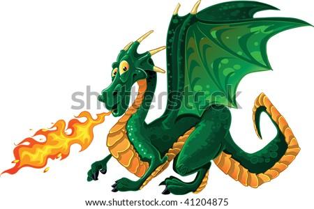 vector fabulous magical green fire-spitting dragon - stock vector