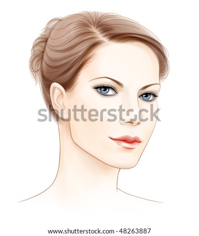 vector face portrait of beautiful young woman - stock vector
