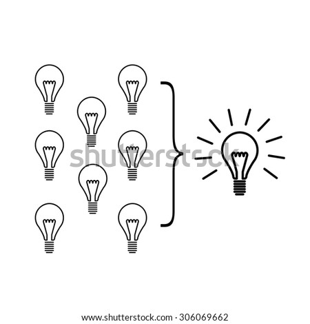 Vector facilitating skills icon of creating one big idea from many small ideas | modern flat design soft skills linear illustration and infographic black on white background - stock vector