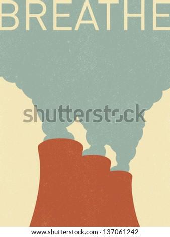 vector factory chimneys - retro illustration - stock vector