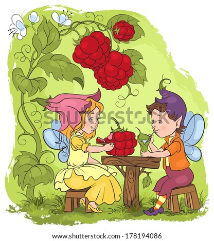 Vector fairytale illustration. Two little cute elves lunch in the garden cafe. Also available raster and outlined version - stock vector