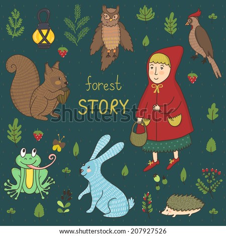 Vector fairytale set with little girl, forest animals and plants: berries, leaves and branches. Hand drawing cartoon characters: girl, rabbit, hedgehog, frog, owl, woodpecker, squirrel. - stock vector