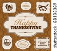 Vector Fall and Thanksgiving Frame Set. Easy to edit. Perfect for invitations or announcements. - stock vector
