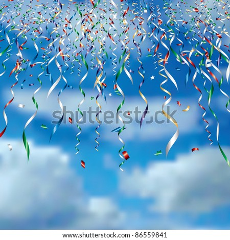 vector falling confetti in clouds - stock vector