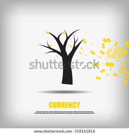 Vector : Falling dollars currency symbol leaves and tree business background - stock vector