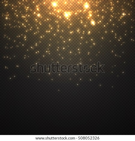 Vector falling of lights isolated on transparent . Christmas shining .Falling glitter light effect .