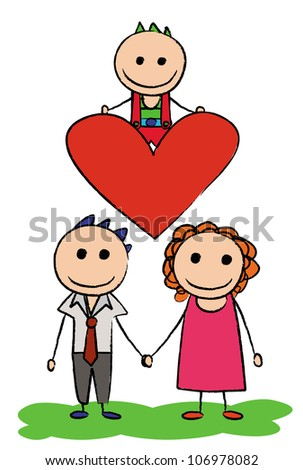 vector - Family.Concept:My son is my heart. - stock vector