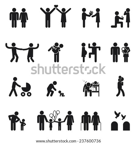 Vector family icons. Set of  Love and family life black and white - stock vector