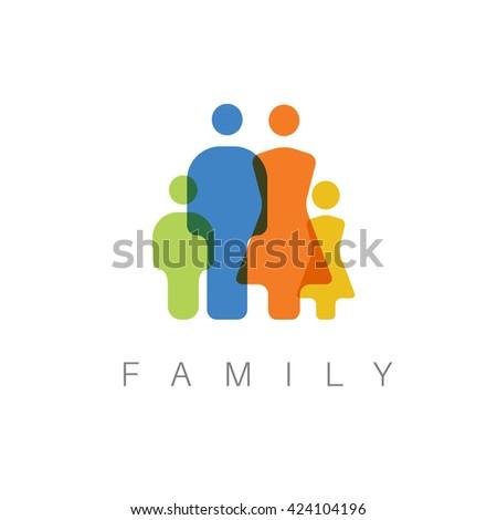 Vector Family Minimalist  concept pictogram illustration - stock vector
