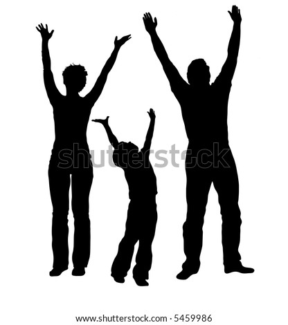 vector family with hands up - stock vector