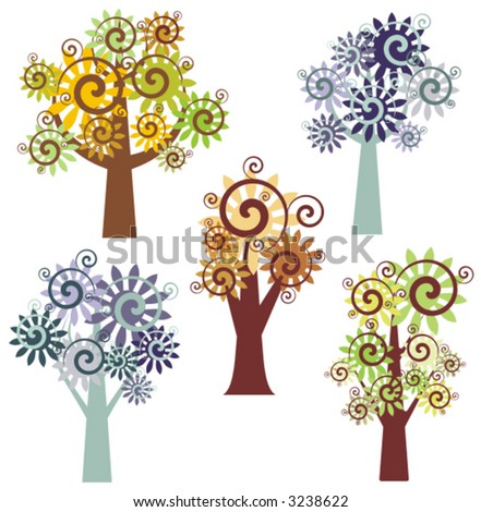 Vector fancy tree designs. Check my portfolio for more of this series as well as thousands of other great vector items. - stock vector