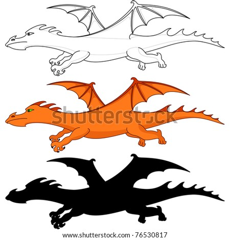 Vector, fantastic dragon, three variants: color, silhouette, contours