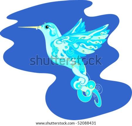 vector fantasy hummingbird - stock vector