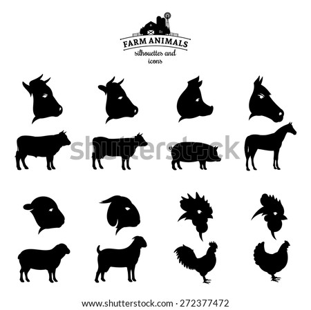 Vector Farm Animals Silhouettes and Icons Isolated on White - stock vector
